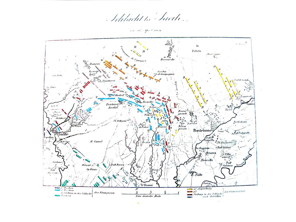 Storia di Sacile: mappa battaglia napoleonica